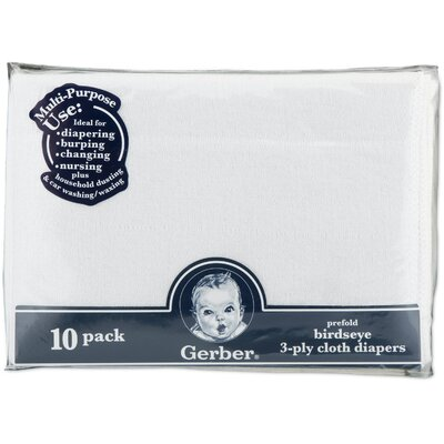 Gerber Baby Care Childrenswear Diaper Birdseye 10 Pack 3 Ply Prefold
