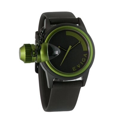 Eviga Bulletor Men's Watch in Black with Green Bezel