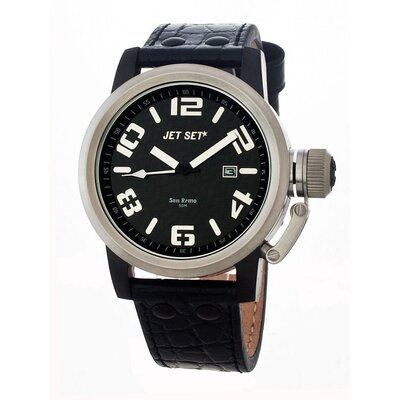 Jet Set San Remo Men's Watch with Black Band and Silver Case