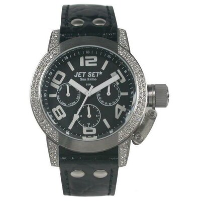 Jet Set San Remo Dame Ladies Watch with Black Dial and Crystal Bezel