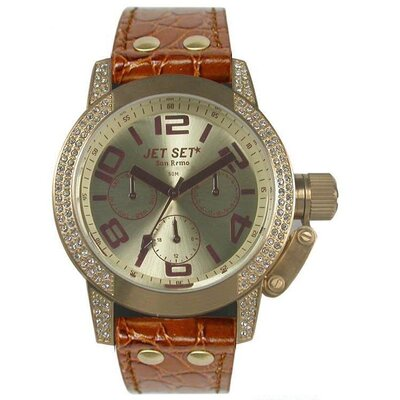 San Remo Dame Ladies Watch with Camel Band and Gold Crystal Bezel