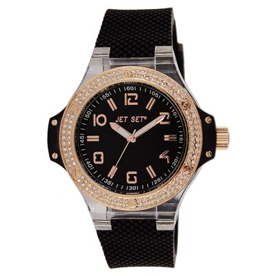 Cannes Ladies Watch with Black Band and Rose Gold Crystal Case