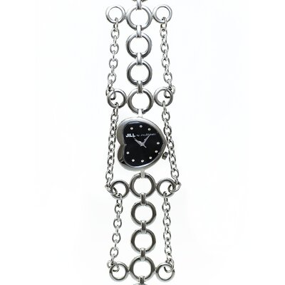 Heart Ladies Watch with Silver Metal Band and Black Dial