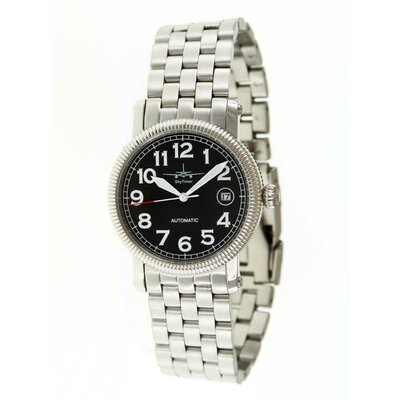 Automatic Pilot Men's Watch with Silver Metal Band