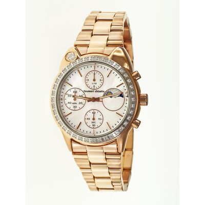 Tsumori Chisato Big Cat Ladies Watch with Rose Gold Metal Band and Crystal Bezel