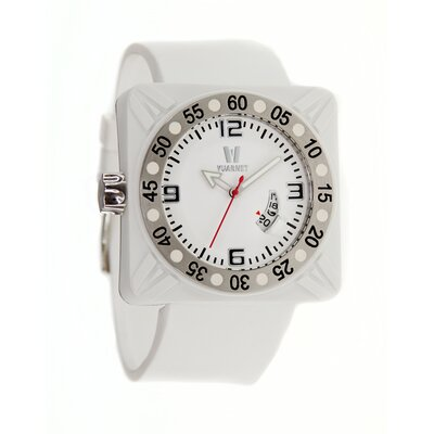 Deepest Gent Men's Watch in White with Silver Bezel