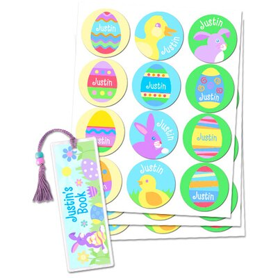 Olive Kids Easter Boys Personalized Sticker and Bookmark Pack (Set of 24)