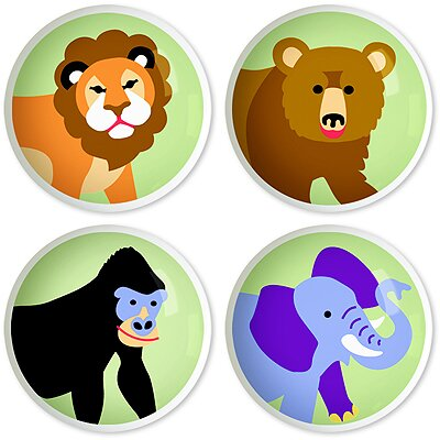 Olive Kids Wild Animals Round Knob