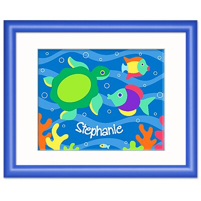 Olive Kids Something Fishy Personalized Print with Blue Frame
