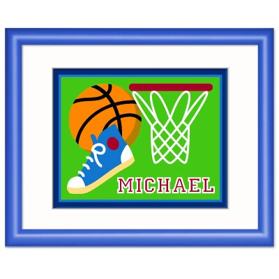 Olive Kids Game On Basketball Personalized Framed Art