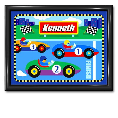 Olive Kids Vroom Personalized Print with Gloss Black Frame