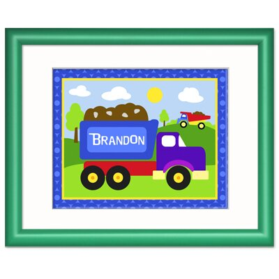 Olive Kids Under Construction Personalized Print with Dark Green Frame