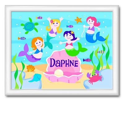 Olive Kids Mermaids Large Personalized Print with Gloss White Frame