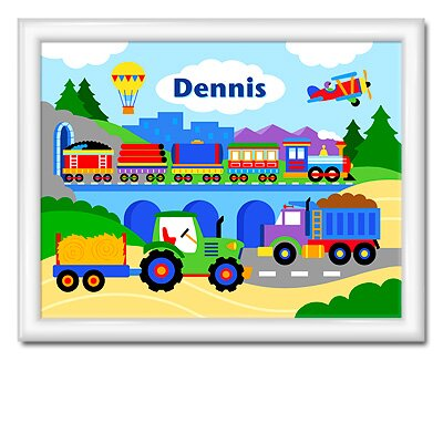 Olive Kids Trains, Planes and Trucks Large Personalized Print with Gloss White Frame