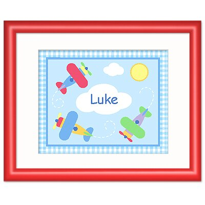 Olive Kids Up and Away Personalized Print with Red Frame