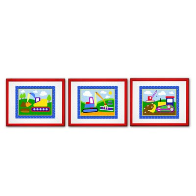Olive Kids Under Construction Print with Red Frame (Set of 3)