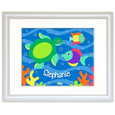 Olive Kids Something Fishy Personalized Print with White Frame