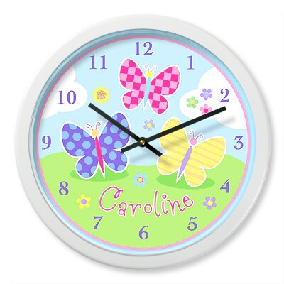 Olive Kids Butterfly Garden Personalized Clock
