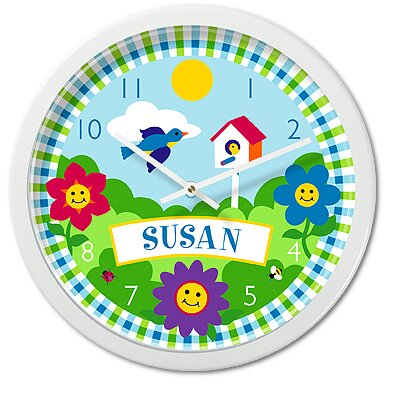 Olive Kids Happy Flowers Personalized Clock with White Case