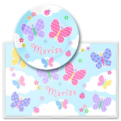 Olive Kids Butterfly Garden Personalized Meal Time Plate Set