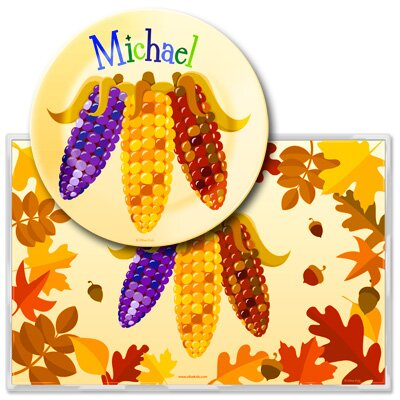 Fall Harvest Personalized Meal Time Plate Set