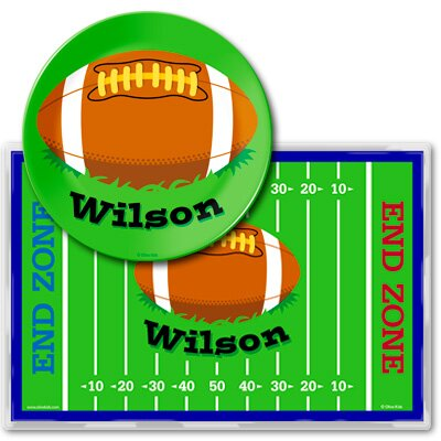 Football Personalized Meal Time Plate Set