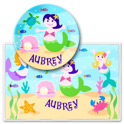 Olive Kids Mermaids Personalized Meal Time Plate Set