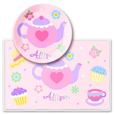 Olive Kids Tea Party Personalized Meal Time Plate Set