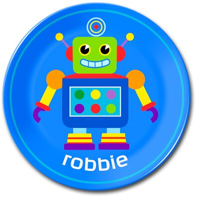 Little Robots Personalized Kids Plate