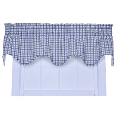 Ellis Curtain Bristol Cotton Two-Tone Rod Pocket Plaid Lined Scalloped Valance