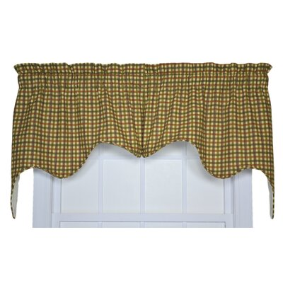 Ellis Curtain Charlestown Check Cotton Rod Pocket Empress Swag Curtain