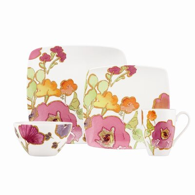 Floral Fusion Square 4 Piece Place Setting