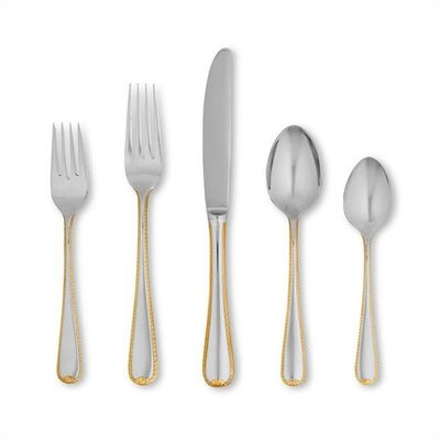 Golden Ribbon Edge 5 Piece Flatware Set
