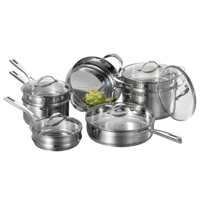 Cat Cora by Starfrit Stackable 12-Piece Stainless Steel Cookware Set (Set of 12)