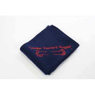 Consider Yourself Hugged Fleece Throw in Navy with Red Hug