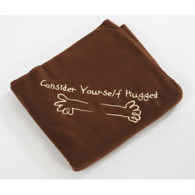 Consider Yourself Hugged Fleece Throw in Chocolate with Wheat Hug