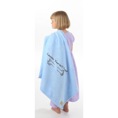 Consider Yourself Hugged Marshmallow Plush Blanket in Baby Blue with Chocolate Hug