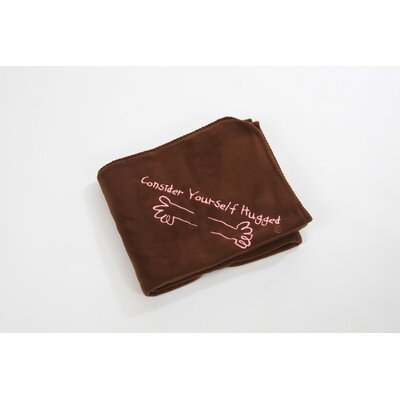 Fleece Throw in Chocolate with Pink Hug