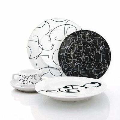 Letters 20 Piece Dinnerware Set