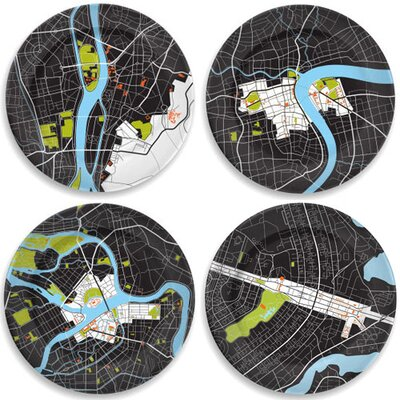 "notNeutral City On A Plate 12"" Dinner Plates Holiday Gift Set (Set of 4)"