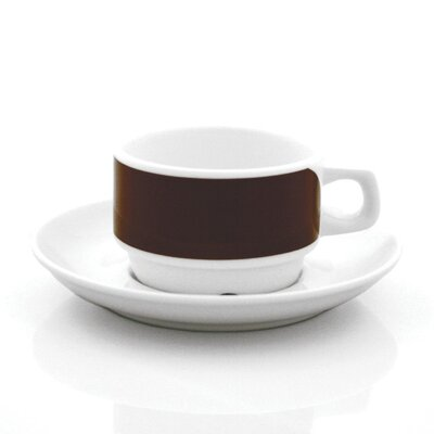 notNeutral Brown Links Cups With Saucers Set (Set of 4)