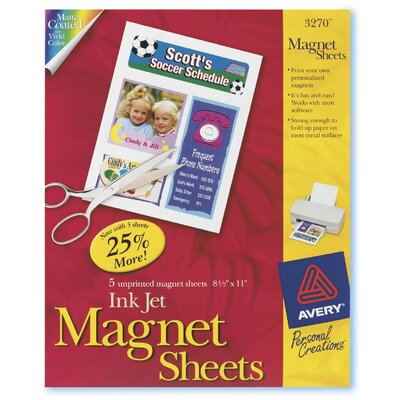 Avery 5 Count Magnet Sheet in White