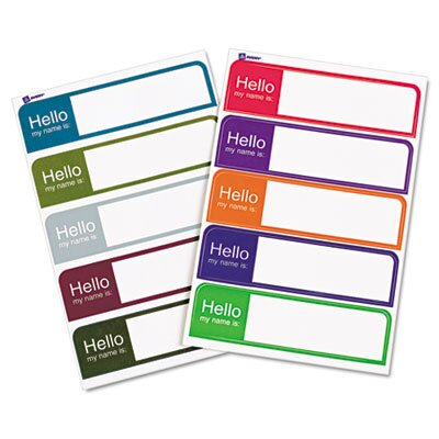 "Avery ""Hello"" Flexible Self-Adhesive Mini Name Badge Labels"