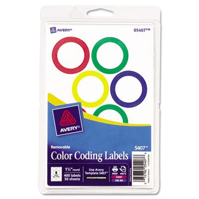 Avery Print Or Write Removable Color-Coding Labels, 400/Pack