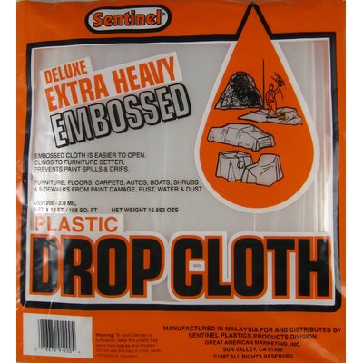 Gam 9' X 12' Sentinel® Deluxe Heavy Duty Embossed Drop Cloth DE91