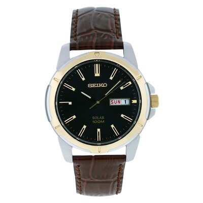 Men's Solar Watch with Leather Strap