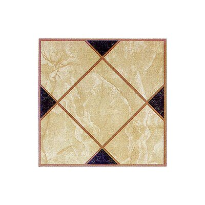 Home Dynamix Vinyl Light Brown Squares Cross Floor Tile (Set of 20)