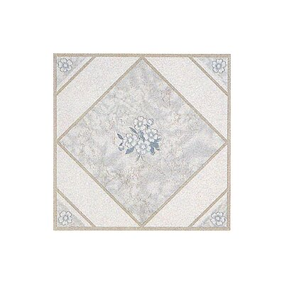 "Home Dynamix 12"" x 12"" Vinyl Tile in White Flower"