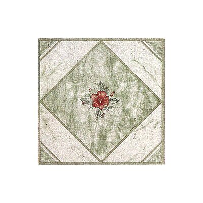 "Home Dynamix 12"" x 12"" Vinyl Tile in Light Green/ Red Flower"