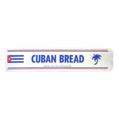 General Cuban Bread Paper Bag in White with Blue and Red Text